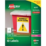 Avery 6575 White Permanent Durable ID Laser Labels, 8-1/2 x 11, 50/Pack