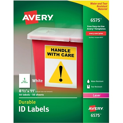 Avery® 6575 White Permanent Durable ID Laser Labels, 8-1/2 x 11, 50/Pack