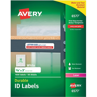 Avery® 6577 White Permanent Durable ID Laser Labels, 5/8 x 3, 1,600/Pack