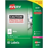 Avery 6579 White Permanent Durable ID Laser Labels, 5 x 8-1/8, 100/Pack