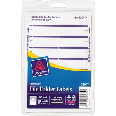 Avery® 5204 Print-or-Write Purple File Folder Labels, 252/Pack