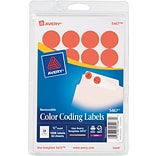 Avery® Color Coding Labels; Neon Red, 3/4 Round, 1008/Pack