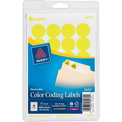 Avery® 5470 Round 3/4 Diameter Print & Write Color Coding Labels, Yellow Neon
