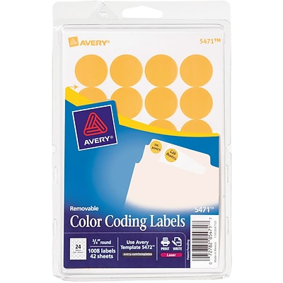 Avery® 5471 Round 3/4 Diameter Print & Write Color Coding Labels, Orange Neon