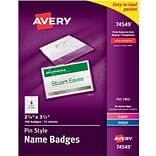 Avery Pin-Style Name Tag Holders (74549) - Plastic - 2-1/4x3-1/2, 100