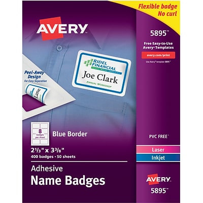 Avery Self-Adhesive Name Tag Labels, 2 1/3 x 3 3/8, White with Blue Border, 400/Pack