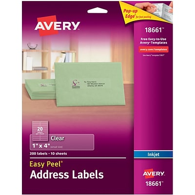 Avery® 18661 Clear Inkjet Address Labels with Easy Peel®, 1 x 4, 200/Box