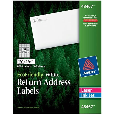 Avery® 48467 EcoFriendly White Inkjet/Laser Return Address Labels 1/2 x 1-3/4, 8,000/Box