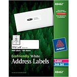 Avery® 48462 EcoFriendly White Inkjet/Laser Address Labels, 1-1/3 x 4, 1,400/Box