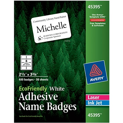 Avery EcoFriendly White Multipurpose Name Tag Labels, 2 1/3 x 3 3/8, 400/Pack