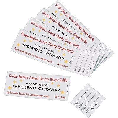 Avery® 16154 Printable Tickets with Tear-Away Stubs, 1-3/4x5-1/2, 200/Pack