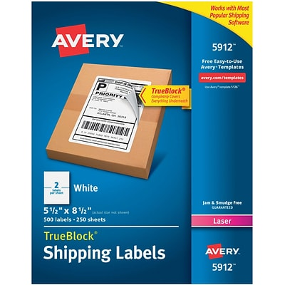 Avery(R) White Shipping Labels with TrueBlock(R) Technology 5912, 5-1/2 x 8-1/2, Pack of 500