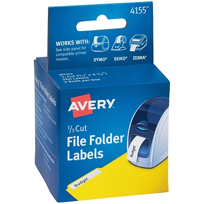 Avery(R) File Folder Labels for Dymo(R), Seiko(R) and Zebra Printers 4155, 9/16 x 3-7/16, Two Rolls of 130