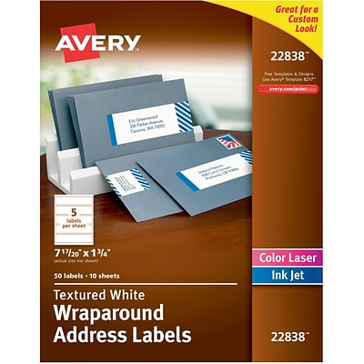 Avery White Textured Wraparound Address Labels, 7-17/20 x 1-3/4, Pack of 50 (22838)