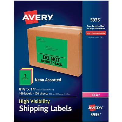 Avery(R) High-Visibility Shipping Labels 05935, Neon Assorted, 8-1/2 x 11, Pack of 100