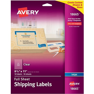 Avery® 18665 Clear Inkjet Full Sheet Shipping Labels, 8-1/2 X 11, 10/Box
