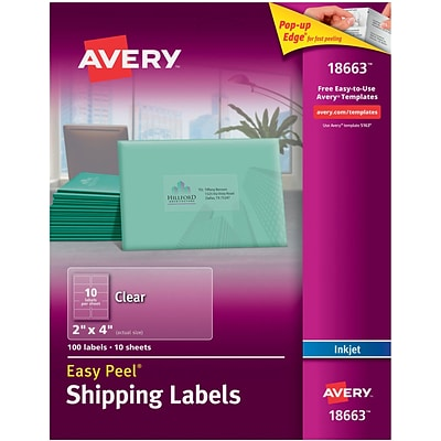 Avery® 18663 Clear Inkjet Shipping Labels with Easy Peel®, 2 X 4, 100/Box