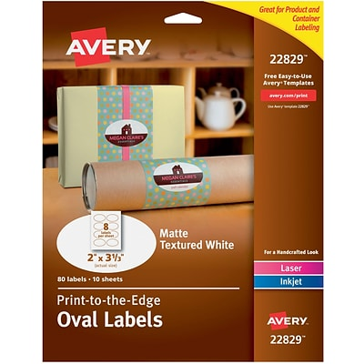 Avery® 22829 Print-to-the-Edge Textured White Oval Labels, Matte, 2 x 3-1/3, 80/Pack