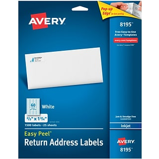 Avery® 8195 White Inkjet Address Labels with Easy Peel®, 2/3 x 1-3/4, 1,500/Box