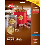 Avery Easy Peel Embossed Matte Gold Foil Round Labels, 2 Diameter, Pack of 96 (22831)