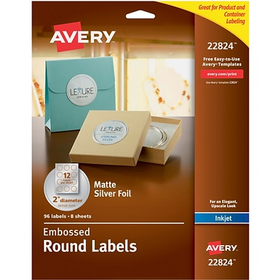 Avery Easy Peel Embossed Matte Silver Foil Round Labels, 2 Diameter, Pack of 96 (22824)