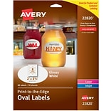 Avery® 22820 Print-to-the-Edge White Oval Labels, Glossy, 2 x 3-1/3, 80/Pack