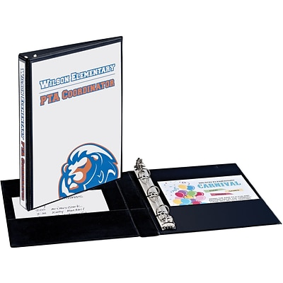 Avery Mini Durable View Binder for 5-1/2 x 8-1/2 Pages with 1/2 Gap Free Round Rings,  Black (27725)