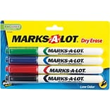 Avery Marks-A-Lot Pen Style Fine Point Dry Erase Marker, Assorted, 4/Pack
