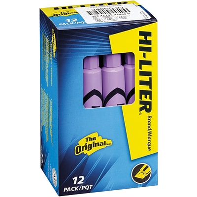 Avery Desk Style Hi-Liters®, Chisel Point, Fluorescent Purple Ink, 12/Pk