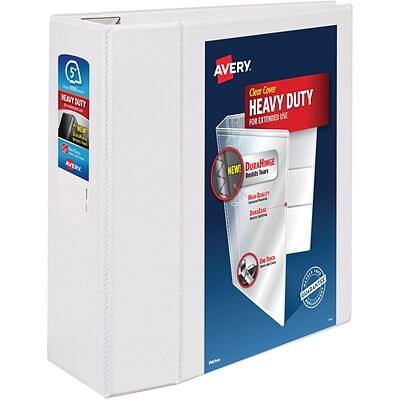 Avery Heavy-Duty View Binder, 5 One Touch Rings, 1,050 Sheet Capacity, DuraHinge, White (79106)