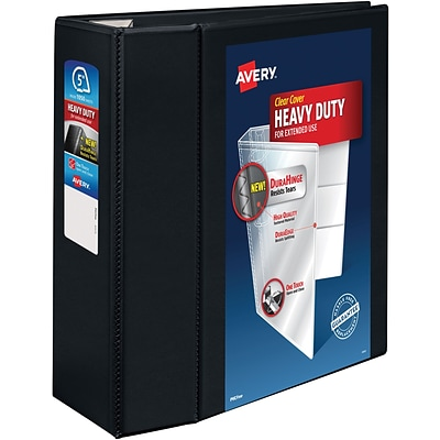 Avery Heavy-Duty View Binder, 5 One Touch Rings, 1,050-Sheet Capacity, DuraHinge, Black (79606)
