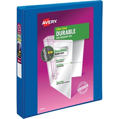 Avery Durable View Binder, 1 Slant Rings, 220 Sheet Capacity, DuraHinge, Blue (17014)