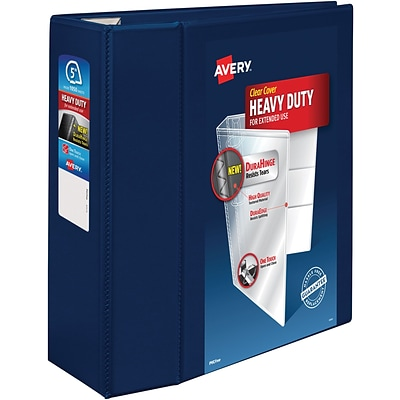 Avery Heavy-Duty View Binder, 5 One Touch Rings, 1,050 Sheet Capacity, DuraHinge, Navy Blue (79806)