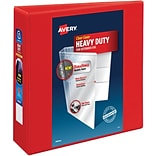 Avery Heavy-Duty View Binder, 3 One Touch Rings, 670 Sheet Capacity, DuraHinge, Red (79325)