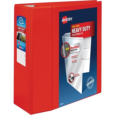 Avery Heavy-Duty View Binder, 5 One Touch Rings, 1,050 Sheet Capacity, DuraHinge, Red (79327)