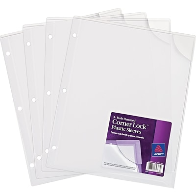 Corner Lock 3-hole Punched Plastic Sleeve, Letter Size, Clear, 4-pack