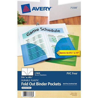 Avery Fold-Out Binder Pockets, Assorted, 5 1/2 x 8 1/2, 3/Pk (75308)