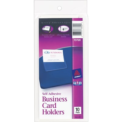 Avery Self-Adhesive Standard 3-Ring Business Card Holders, Clear (73720)
