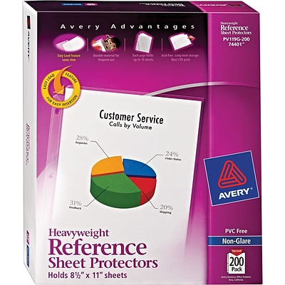 Avery Heavyweight Non-Glare Sheet Protectors, 8.5 x 11, Clear, 200/pack (74401)