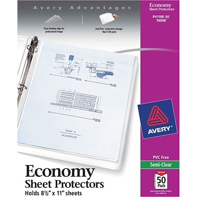 Avery Non-Stick Top-Loading Sheet Protectors, Standard-Weight, Semi-Clear, 50/Pk