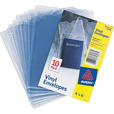 Avery Vinyl Envelopes, Heavyweight, Top Thumb Notched, Clear, 4 x 6, 10/Pk