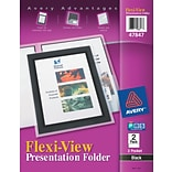 Avery Flexi-View Two-Pocket Folders, Black, LETTER-size Holds 8 1/2 x 11, 2/Pk (AVE47847)