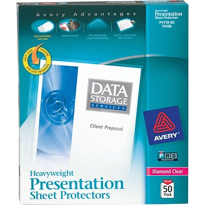Avery® Sheet Protectors, Heavyweight Polypropylene, 50/Box, Diamond Clear