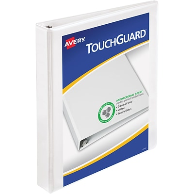 Avery® TouchGuard Antimicrobial Slant D 3-Ring Binder, 1, White (17141)