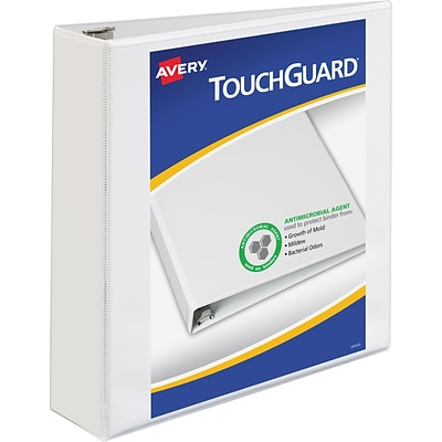 Avery TouchGuard Protection View Binder with 2 Slant Rings, White (17143)