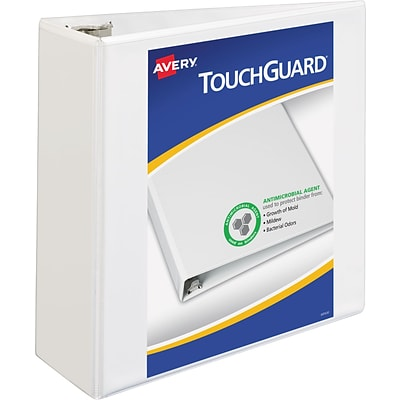 Avery® Touchguard® Antimicrobial View Binder with 4 Slant Rings, White