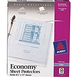Avery® Diamond Clear-Top Loading Sheet Protectors, 8-1/2x11, 50/Box, Economy Weight