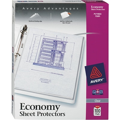 Avery® Sheet Protectors, Economy Weight Polypropylene, 100/Box, Clear