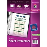 Avery Top Load Sheet Protector, Heavyweight, Diamond Clear, 8 1/2 x 5 1/2, 25/Pk (77004)