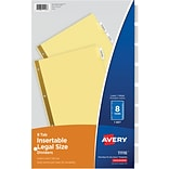 Avery® Insertable Tab Dividers, 8-Tab, Clear, 8 1/2 x 14, 1/St
